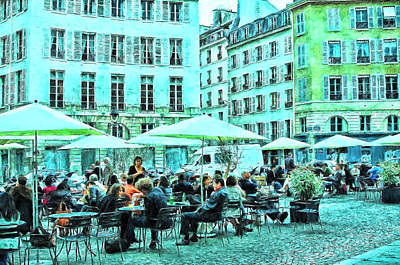Outdoor Cafe - Paris Poster by Allen Beatty