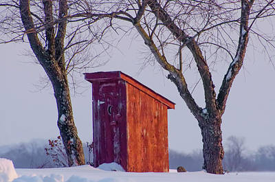 Outhouse In The Winter Poster by Bill Cannon