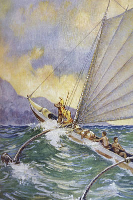 Outrigger At Sea Poster by Hawaiian Legacy Archive - Printscapes