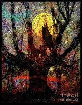 Owl And Willow Tree Poster by Mimulux patricia no