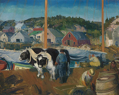 Ox Team, Wharf At Matinicus Poster by George Bellows