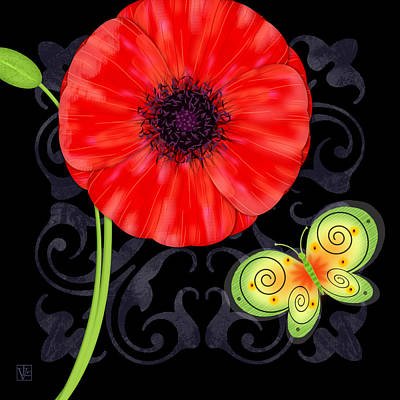 P Is For Poppy Poster by Valerie Drake Lesiak