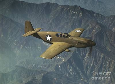 P51 Mustang In Flight Poster by Padre Art