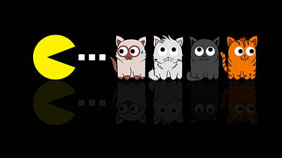 Pacman Meets Kittens Poster by Isaac Stalley