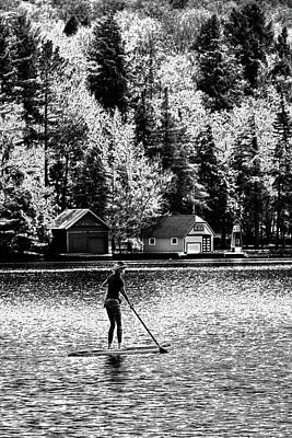 Paddleboarding On Old Forge Pond Poster by David Patterson