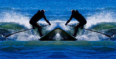 Paddleboarding X 2 Poster by Betsy Knapp