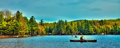 Paddlers On Old Forge Pond 2 Poster by David Patterson