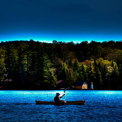 Paddling At Sunset - Old Forge Pond Poster by David Patterson