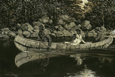 Paddling The Wounded British Officer Poster by Frederic Remington