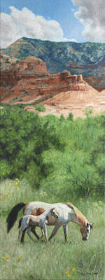 Paint Horses At Caprock Canyons Poster by Anna Rose Bain