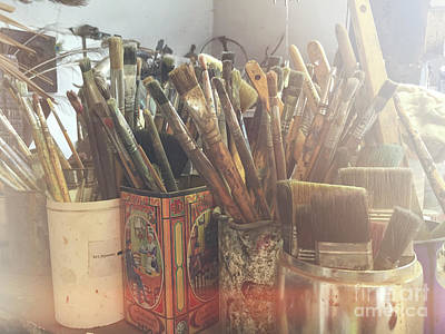 Paintbrushes In Pots Poster by Patricia Hofmeester