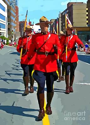 Painting Of The Royal Canadian Mounted Police Poster by John Malone