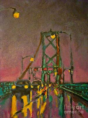 Painting Of Traffic On Wet Bridge Deck At Night Poster by John Malone
