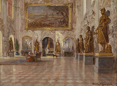 Palace Interior With Decorative Figures Poster by Lajos Bruck