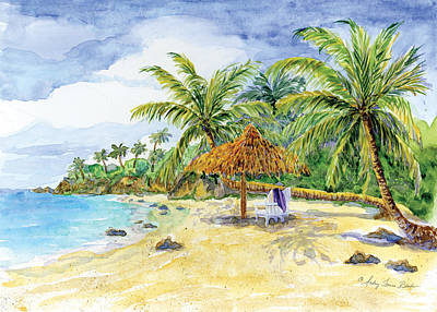 Palappa N Adirondack Chairs On A Caribbean Beach Poster by Audrey Jeanne Roberts