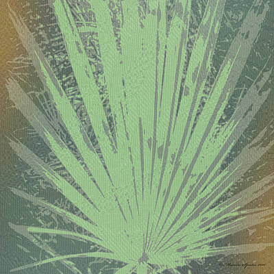 Palm Frond Green Gold Poster by Marvin Spates