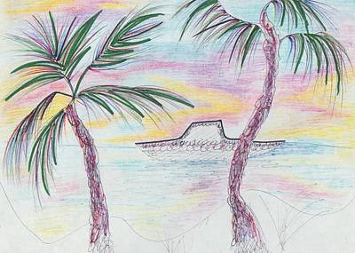 Palm Trees And Boat Poster by Suzanne  Marie Leclair