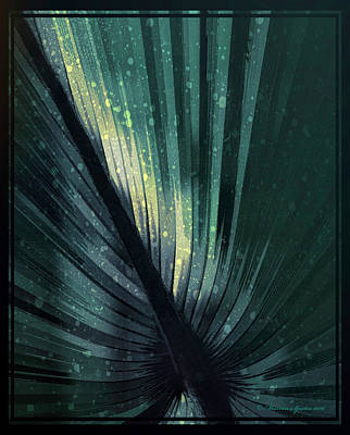 Palmetto Embrace-blue Yellow Poster by Marvin Spates