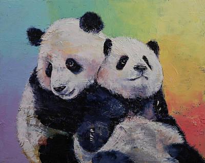 Panda Hugs Poster by Michael Creese