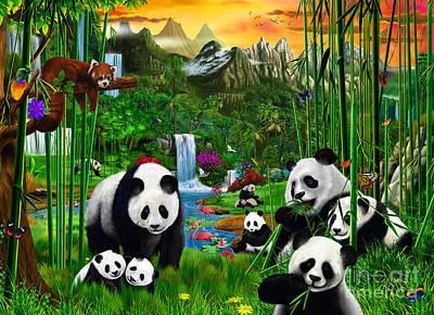 Panda's Paradise Poster by Gerald Newton