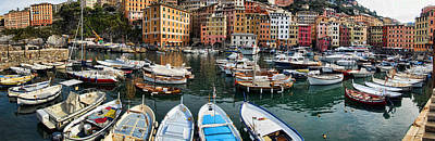 Panorama 2 Of Camogli Fishing Village On The Italian Rivi Poster by David Smith