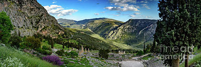 Panorama Of Ancient Delphi And The Temple Of Apollo, Delphi, Greece Poster by Global Light Photography - Nicole Leffer