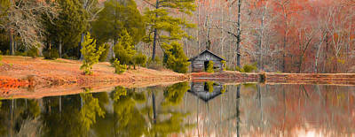 Panorama Of Cabin By The Lake Poster by Shelby  Young