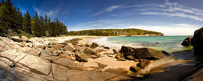 Panorama Of Sand Beach At Acadia Poster by Brent L Ander