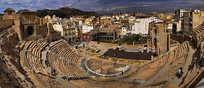Panorama Of The Roman Forum In Cartagena Spain Poster by David Smith