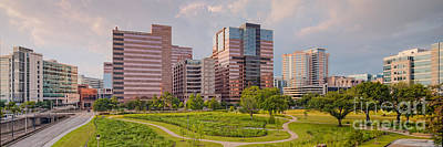 Panorama Of The Texas Medical Center From Fannin Street Transit Center Overpass - Houston Texas Poster by Silvio Ligutti