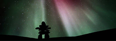 Panoramic Inukshuk Northern Lights Poster by Mark Duffy