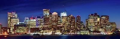 Panoramic Lights On A Boston Night Poster by Frozen in Time Fine Art Photography