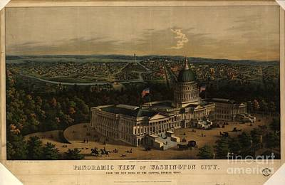 Panoramic View Of Washington City From The New Dome Of The Capitol Poster by MotionAge Designs