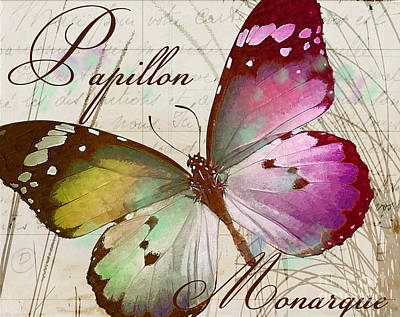 Papillon Pink Poster by Mindy Sommers