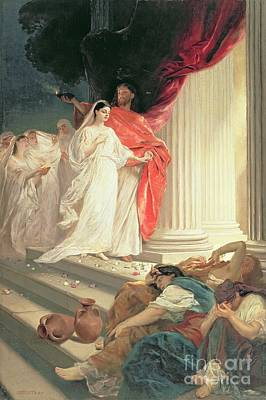 Parable Of The Wise And Foolish Virgins Poster by Baron Ernest Friedrich von Liphart