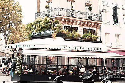 Paris Cafe De Flore Famous Landmark - Paris Street Cafe Restaurant  Poster by Kathy Fornal