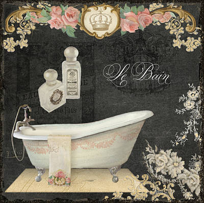 Paris - Chalkboard Le Bain Or The Bath Chandelier And Tub With Roses Poster by Audrey Jeanne Roberts