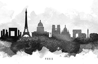 Black And White Paris Poster featuring the painting Paris Cityscape 11 by Aged Pixel