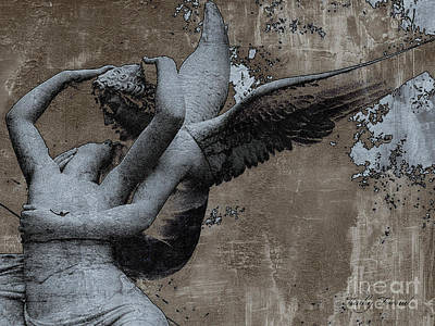 Paris Eros And Psyche - Surreal Romantic Angel Louvre   - Eros And Psyche - Cupid And Psyche Poster by Kathy Fornal