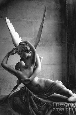 Paris In Love - Eros And Psyche Romantic Lovers - Paris Eros Psyche Louvre Sculpture Black White Art Poster by Kathy Fornal