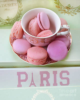 Paris Laduree Macarons - Pink Paris Macarons - Shabby Chic Laduree Paris Macarons Decor Poster by Kathy Fornal
