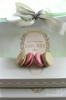 Paris Laduree Mint Box Of Macarons - Paris French Laduree Macarons  Poster by Kathy Fornal