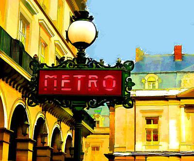 Paris Metro Stop Poster by Elaine Plesser