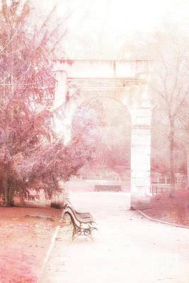 Paris Park Monceau Gardens Landscape - Dreamy Romantic Paris Pink Park Bench Park Monceau Poster by Kathy Fornal
