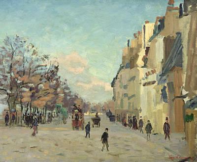 Paris Quai De Bercy Snow Effect Poster by Jean Baptiste Armand Guillaumin