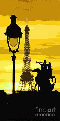 Paris Tour Eiffel Yellow Poster by Yuriy  Shevchuk