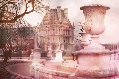Paris Tuileries Pink Garden - Jardin Des Tuileries Garden - Paris Landmark Garden Sculpture Park Poster by Kathy Fornal