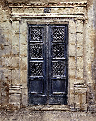 Forty Poster featuring the painting Parisian Door No.40 by Joey Agbayani