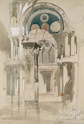 Part Of Saint Mark's Basilica, Venice  Sketch After Rain Poster by John Ruskin