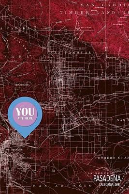 Pasadena California Red Old Map Poster by Pablo Franchi